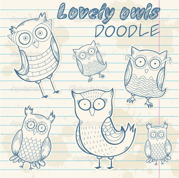Милый мультфильм Сова стильные наклейки каракули — Стоковая иллюстрация #26488269