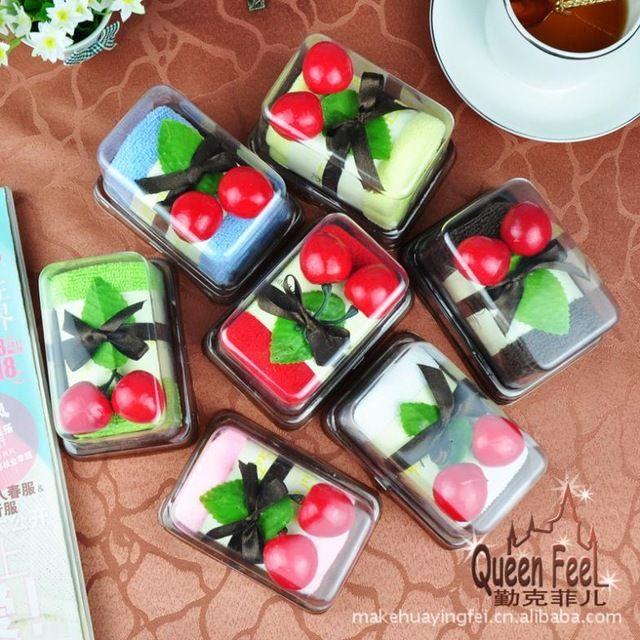 Envío gratis 10 unids/lote Favor toalla de la torta mayorista suministros de la boda pequeña caja cuadrada suizo SW993 rollo
