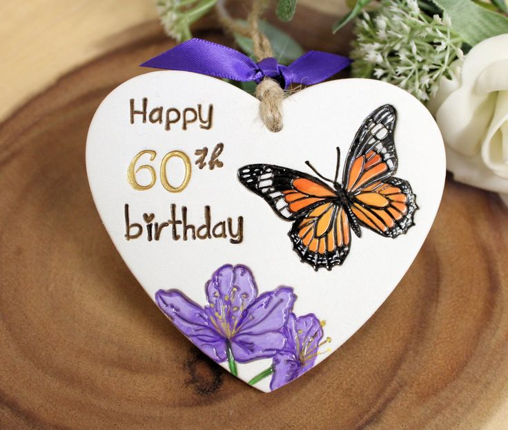 Clay hanging heart 60th birthday gift or alternative