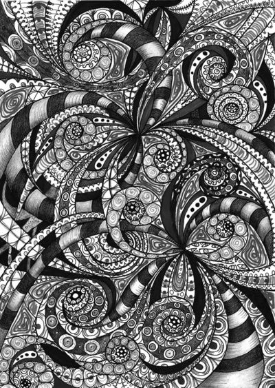 Drawing floral abstract background A6 Art Print
