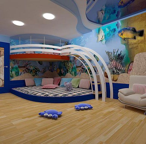 Two levels in the room will help to allocate extra space for play area