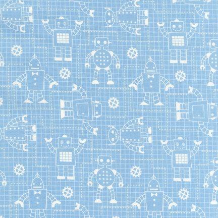 Caleb gray robot factory blueprint grid aqua organic for Robot quilt fabric