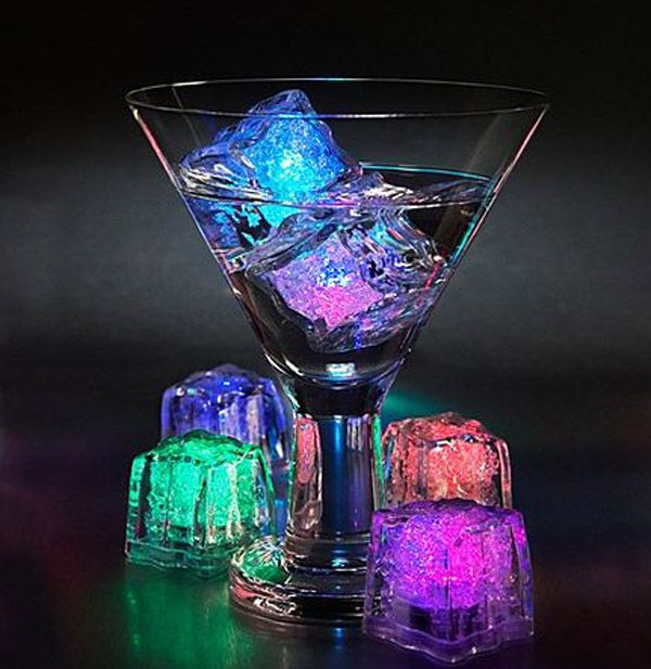 My husband and I were just talking about reusable ice cubes the other day...and these ones light up!
