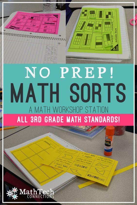 math workshop centers - math sorts that cover all third grade math standards
