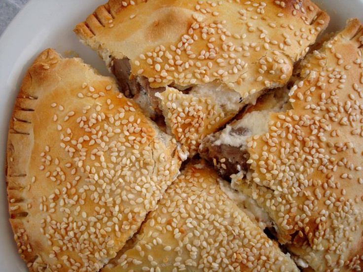 The Kreato-tourta (meat-pie) is an Easter traditional food in Chania, Crete