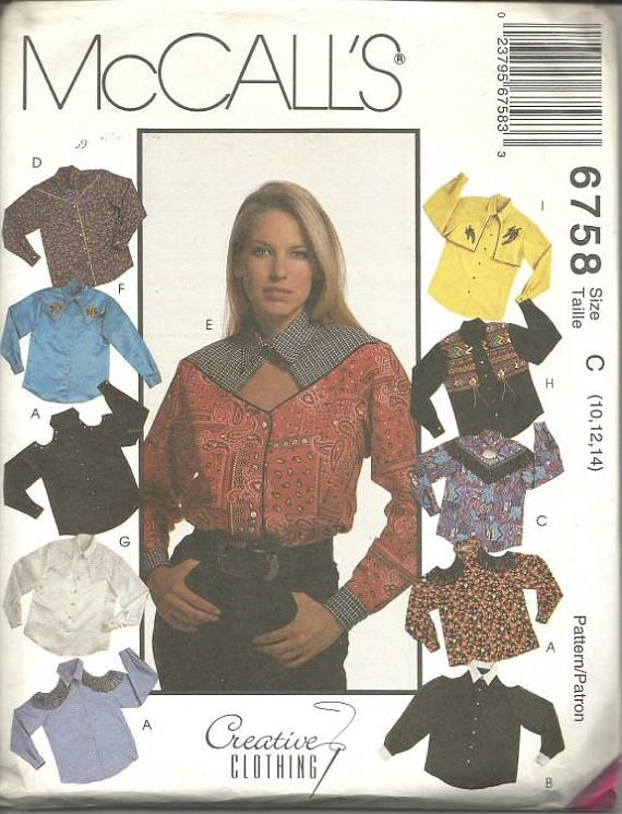 1990s Rodeo Chic Cowboy Style Shirts Long Sleeves McCall's