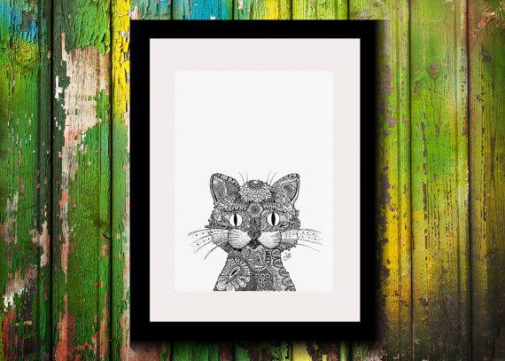Wall Art, Drawing, Illustration, Zentangle Inspired, Patterns, Art, Print, Home Decor, Modern, Creative, Gift Idea, Cat, Feline, Crazy, Cute