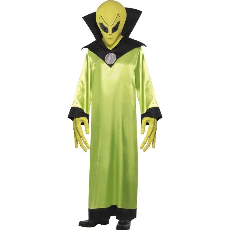 Mens Green Alien Lord Halloween Fancy Dress Costume-22006