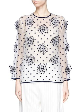 CHLOÉEmbroidered floral appliqués organza blouse