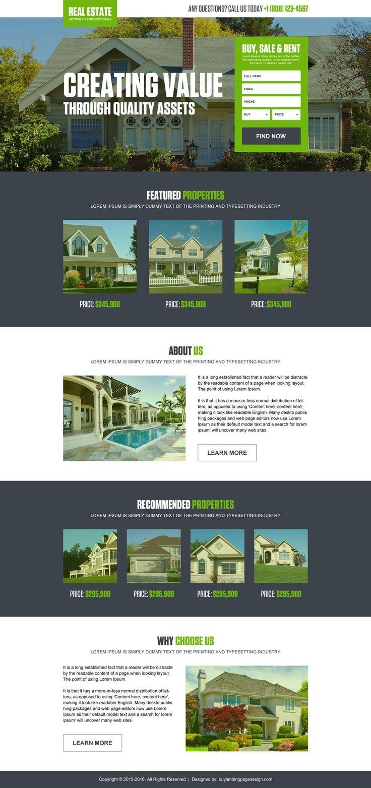 Converting Real Estate Listing Landing Page Design Template Real Estate Landing Pages Real Estate Website Design Real Estate