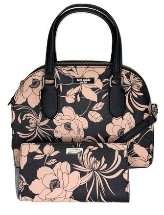 1c450ba21789 Kate Spade Laurel Way Mini Reiley Wkru5639 and Matching Stacy Wallet  Black/Flowers Leather Satchel. Save big on the Kate Spade Laurel Way Mini  Reiley ...