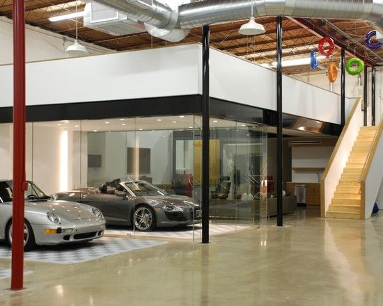amazing garage living room | Amazing Car Showroom Design with Living Room: Expensive ...