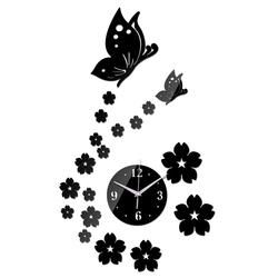 Mirror Wall Stickers  Butterfly Horse Large Wall Clock