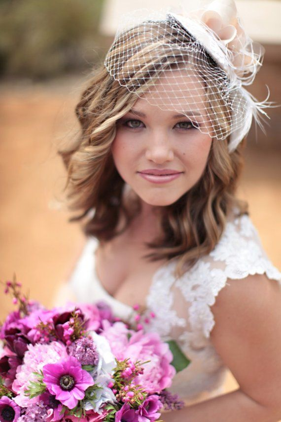 I love this retro-style for any occasion- birdcage veil hat