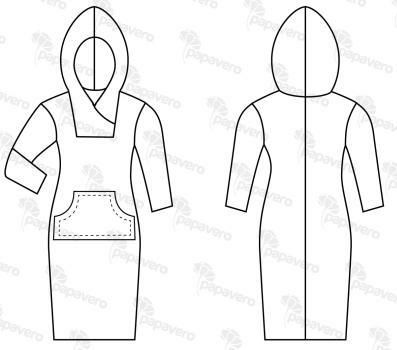 robe à capuche Sweatshirt Dress Free sewing pattern - I think you can print out the pattern somewhere, just click until you find it ...