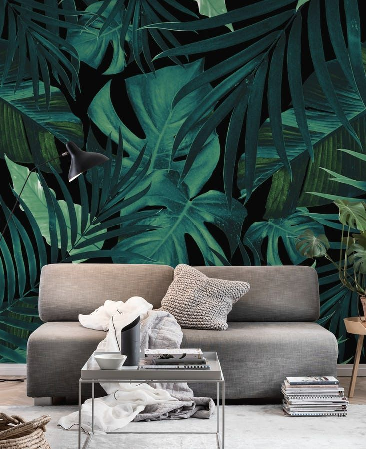 Buy Tropical Jungle Night Leaves 1 Wall Mural Free Us Shipping At Happywall Com Modern Floral Wallpaper Jungle Pattern Mural Wallpaper