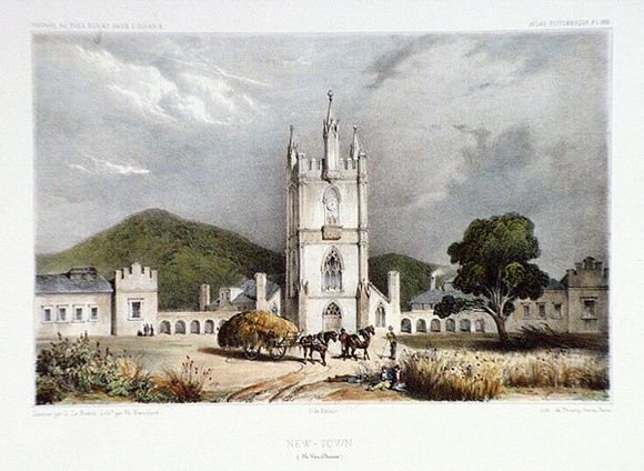 Artist: LE BRETON, Louis | Title: New Town (Ile Van Diemen). [New Town, Van Diemen's Land] | Date: 1841 | Technique: lithograph, printed in black ink, from one stone; hand-coloured