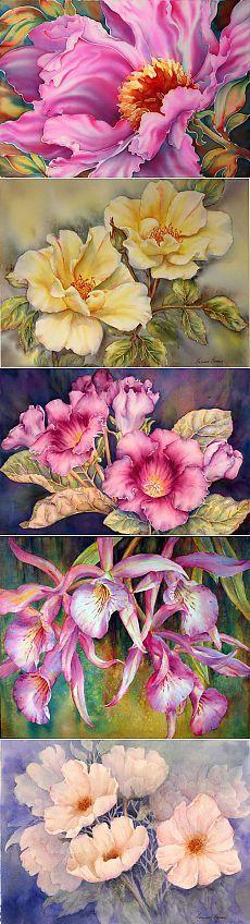 Художник Marianne Broome/Акварельные цветы.