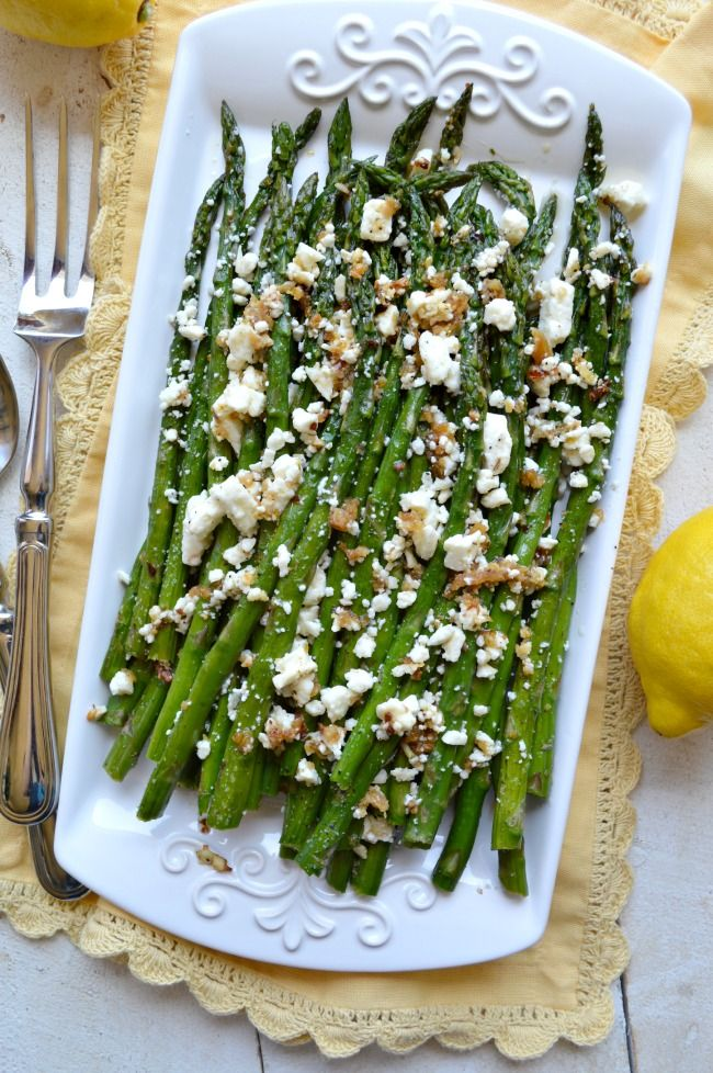 Roasted Garlic Asparagus with Feta