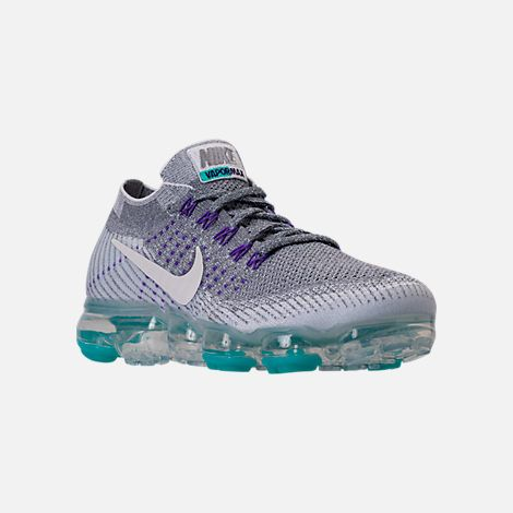 4332a986e88 Three Quarter view of Women s Nike Air VaporMax Flyknit Running Shoes in  Cool Grey White Pure Platinum
