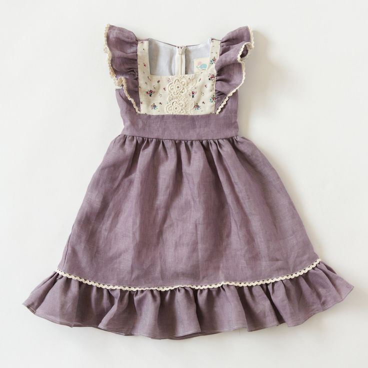 Our dreamy Flutter Dress in Lavender Linen is a dream come true for every little girl. Beautiful lightweight linen in soft lavender twirls beautifully as she frolics freely. The sleeves and hem are ge