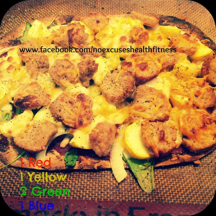 Flat Out Pizza - Chicken Meatballs, Spinach, Onion, Yellow Squash and Cheese....