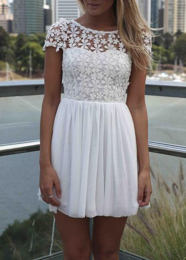 White Floral Lace and Chiffon Pleated Dress