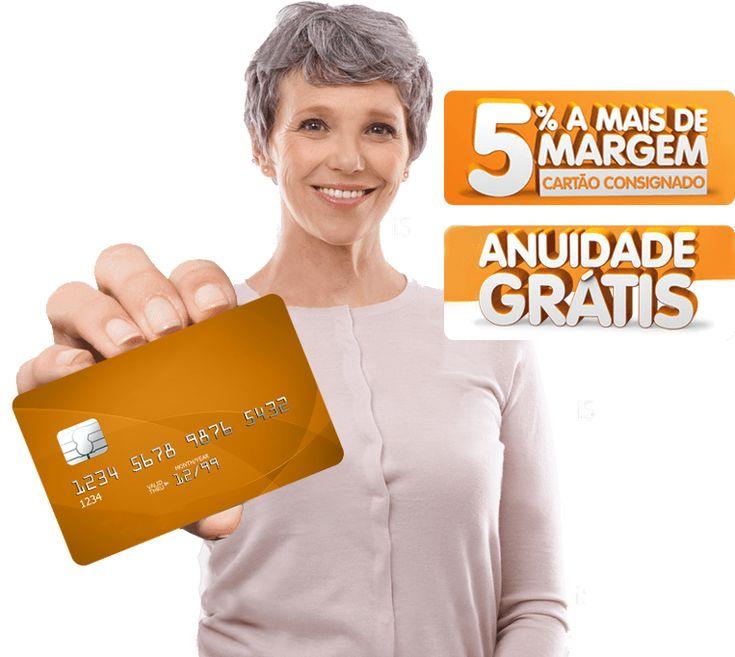 Senhora sorrindo e mostrando o cartão do Banco BMG. Ao lado, os dizeres '5% a mais de margem, cartão consignado' e 'Anuidade Grátis'.