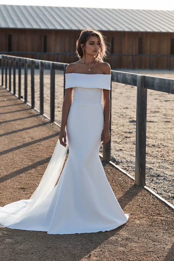 Romantic Wedding Dress,Satin Wedding Dresses,Off The Shoulder Prom
