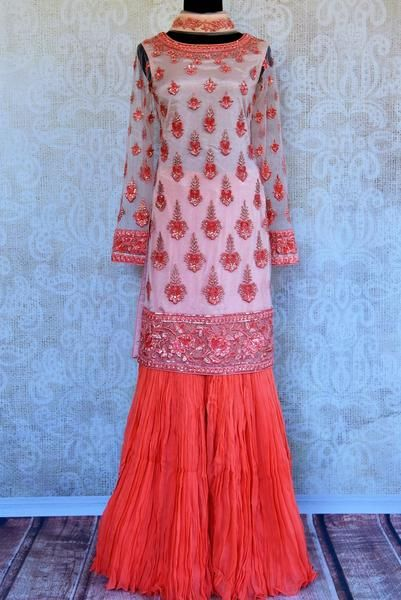 Beautiful andeye-catching peach embroidered net georgette sharara with dupatta is a must-have in an ethnic wardrobe. The subtle design of the dress makes it a versatile choice for many occasions.Buy online from Pure Elegance or visit our store inUSA. Size Available- S,M,L (34/36/38/40)