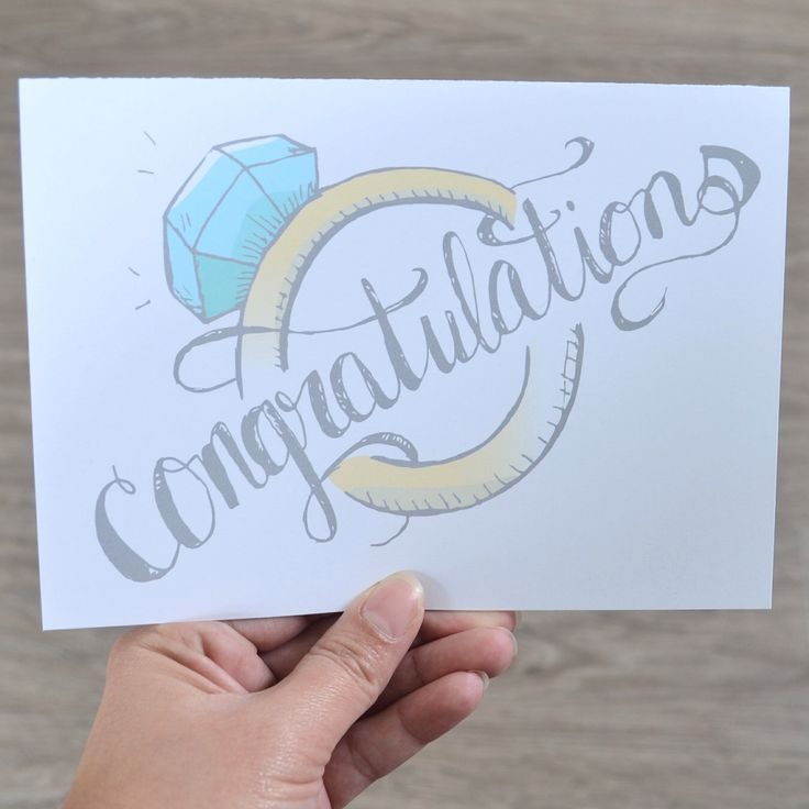 Wedding Card, Engagement Card, Hand Lettered Congratulations illustrated card, Great for Wedding gift, Bridal shower by AMTaylorArt on Etsy https://www.etsy.com/ca/listing/291905147/wedding-card-engagement-card-hand
