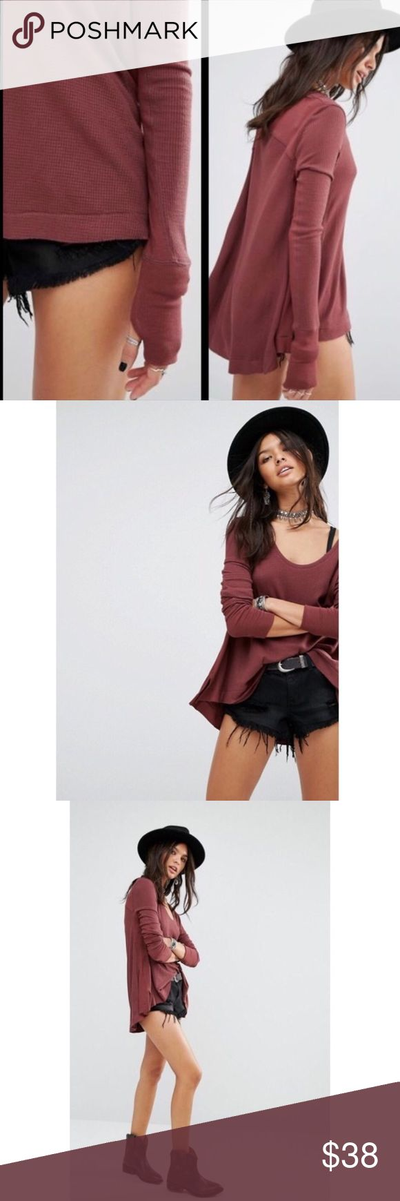 NWT Free People Malibu Thermal Color Fig/Brown. Size L. More details coming soon. Free People Tops Tees - Long Sleeve