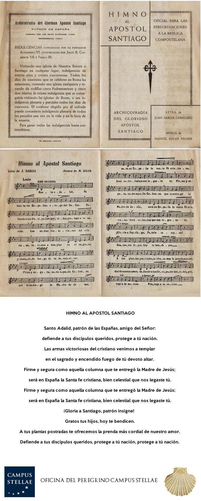 Himno de Santiago Apostol   Anthem   Hymne   Centro del Peregrino CAMPUS STELLAE   Santiago de Compostela   Consigna   Left Luggage   http://www.oficinaperegrinocaminosantiago.com/