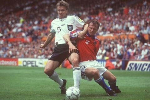 Germany 2 Czech Rep 0 in 1996 at Old Trafford. Thomas Helmer and Radoslav Latal battle for the ball in Group C at Euro '96.