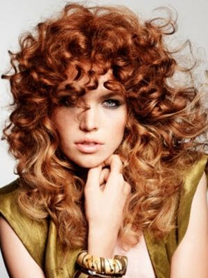 Curly Red Hair With Chunky Blonde Highlights | fashionplaceface.