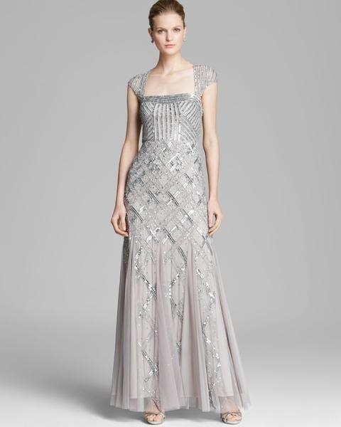 Adrianna Papell Cap Sleeve Beaded Gown - Platinum