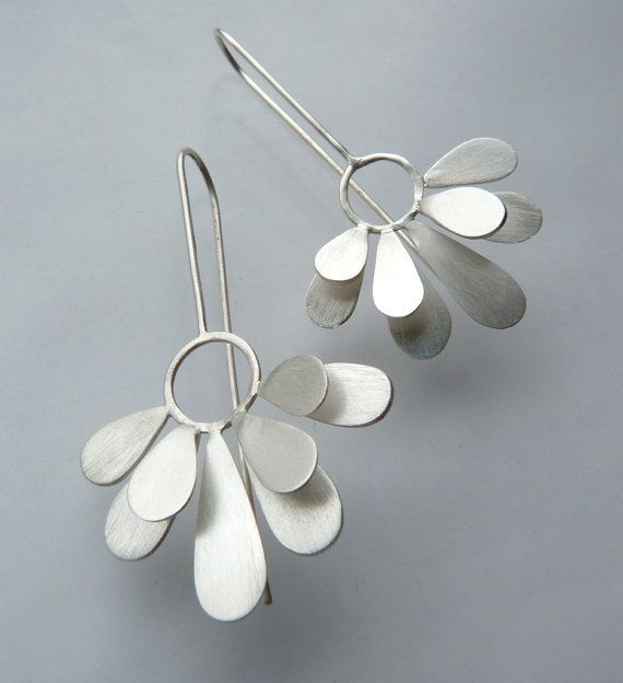 Prickly Pear Drop earrings, sterling silver, by Moira K. Lime