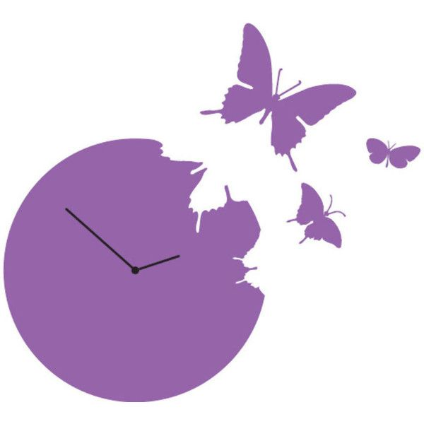Diamantini & Domeniconi Butterfly Clock Violet found on Polyvore featuring home, home decor, clocks, purple, butterfly home decor, butterfly wall clock, butterfly clock, purple clocks and purple home decor