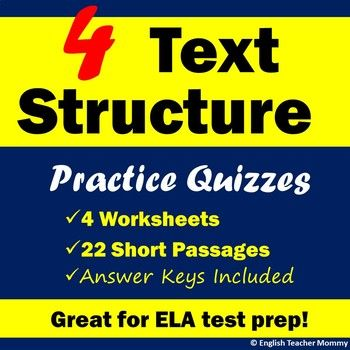 Here's some skill-based nonfiction test prep! Give your middle school students plenty of nonfiction reading practice with these four text structure quizzes, covering the five main nonfiction text structures: Chronological order/sequence, cause and effect, problem and solution, description, and compare and contrast.This resource includes four separate practice pages, each with 5-6 short example passages (one paragraph each) asking students to identify the text structure and in some cases…