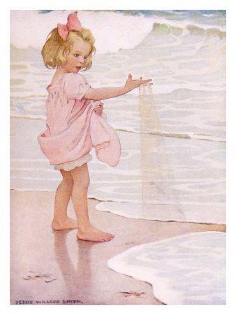 Jesse WIlcox Smith: Pink Roses, Little Girls, The Ocean, Jessie Wilcox, Sweet Girls, Bathroom Pictures, Jessie Willcox Smith, Children Book, Young Girls