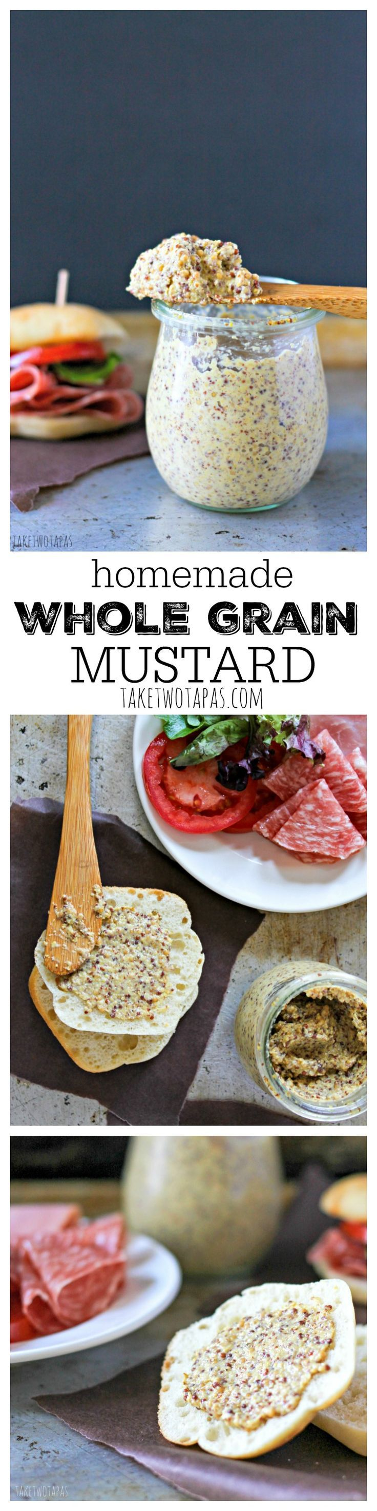 Getting tired of buying mustard? Make your own! It's simple and you can add your own flavors! Customize your own condiments to match your menu! Homemade Whole Grain Mustard Recipe | Take Two Tapas