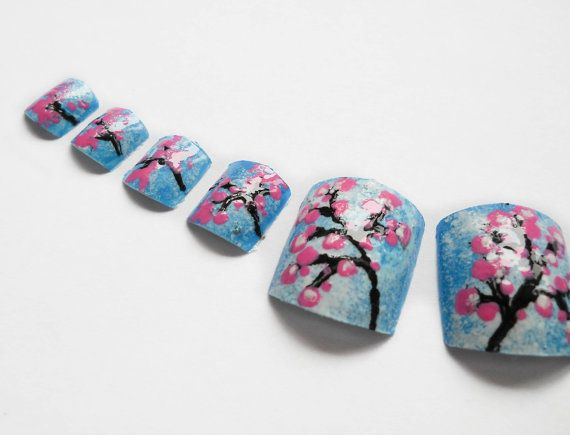 Cherry Blossom Nails for Toes Fake Toenails Hand Done by niceclaws, $15.00