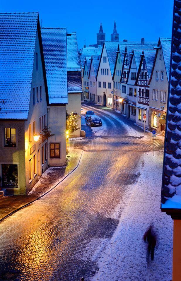 Snowy Night, Rothenburg, Germany.