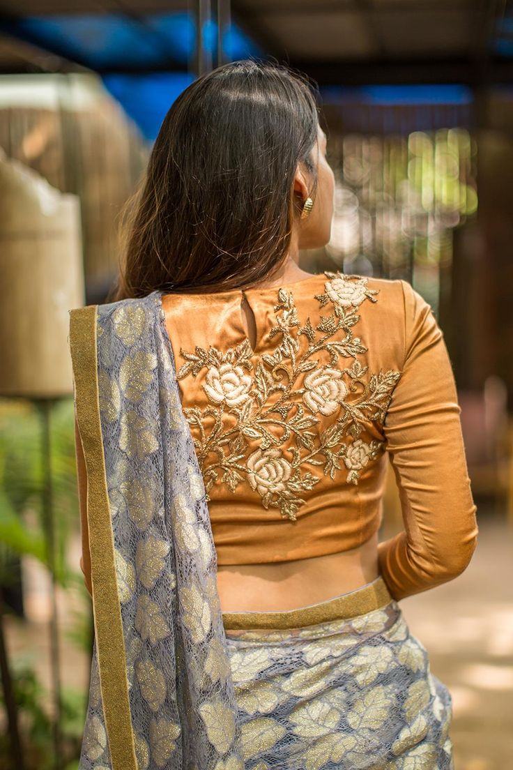 House Of Blouse Mustrad Silk Embroidered Blouse