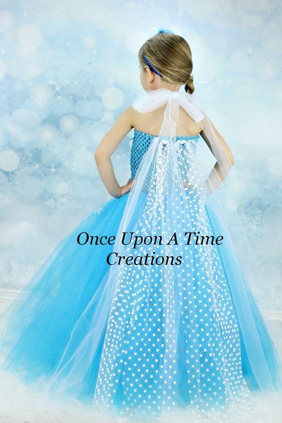 Elsa Inspired Frozen Princess Tutu Dress w/ Polka Dot Sheer Tulle Cape - Halloween Costume - 12M 2T 3T 4T 5T 6 7 8 10 12 - Disney Inspired on Etsy, $39.99