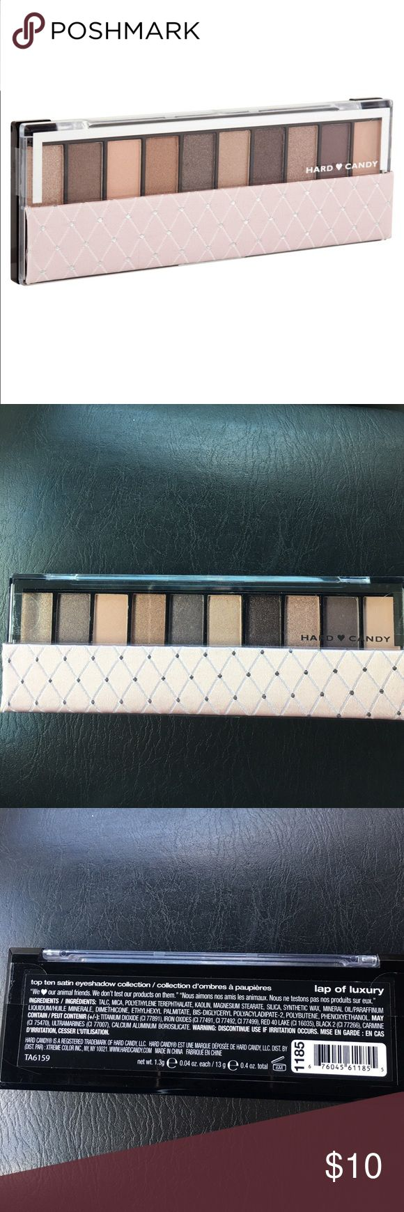 Hard Candy Top Ten Satin- Lap of Luxury Hard Candy Top Ten Satin- Lap of Luxury (1185). An eye shadow collection of fashion-forward colors in a chic, fabric mirror compact in an extraordinary range of shades, with matte, shimmer, glitter, and metallic finishes. Apply over Hard Candy eyeshadow primer for maximum pigmentation.  Combine different colors for a new, custom look every time. Apply shadows wet or dry.  NEW, unopened 💜 Hard Candy Makeup Eyeshadow