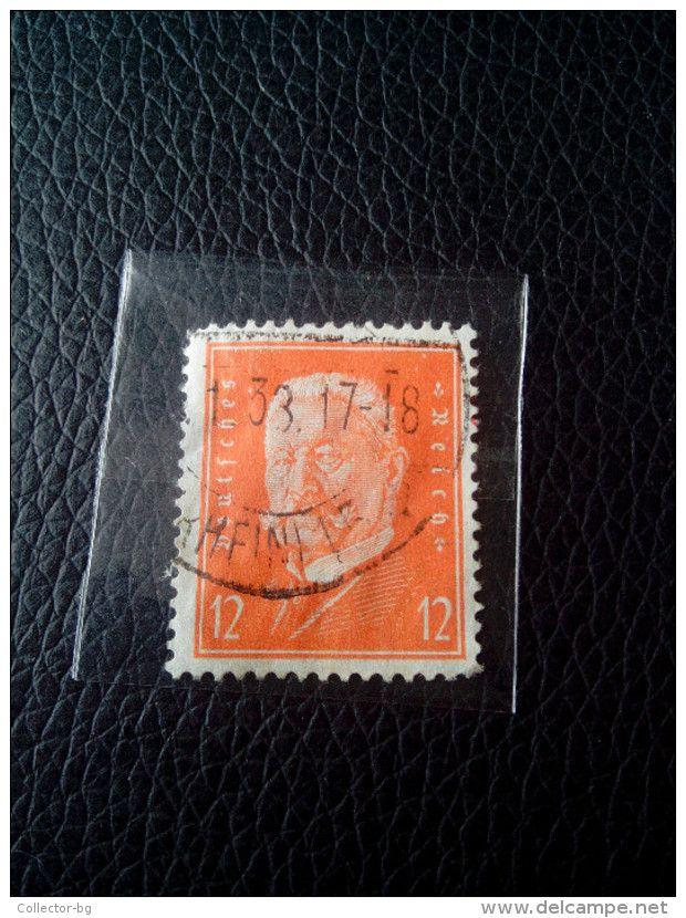 RARE 12 PF DEUTSCHEN REICH Reichspresidents  Paul Von Hindenburg German Stamp 1933 NICE FACE USED - Germany