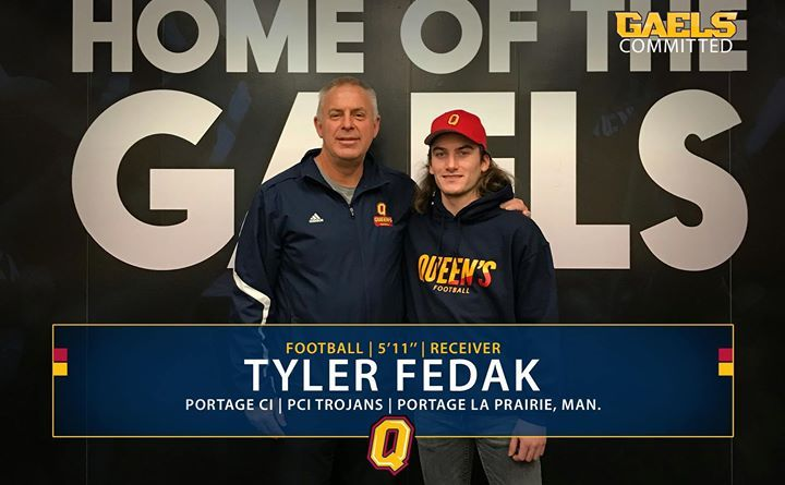 """Tyler Fedak is GAELS COMMITTED!  Fedak is a receiver from Portage La Prairie Manitoba and played for the PCI Trojans where he was the offensive MVP and top graduating athlete #LeadTheWay #GaelsCommitted  """"I chose Queens because it offers me a great opportunity to further my football skills and to obtain an education from one of Canadas best post-secondary schools. Going in I wasnt sure with the distance so far from home but as soon as I got there it all felt right. Im excited to see what my…"""