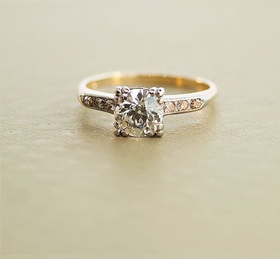1940s Engagement Ring  Vintage Gold and Diamond by SITFineJewelry, I call shotgun on this everyone, I don't care if that means I have to get engaged to myself. #theringismine