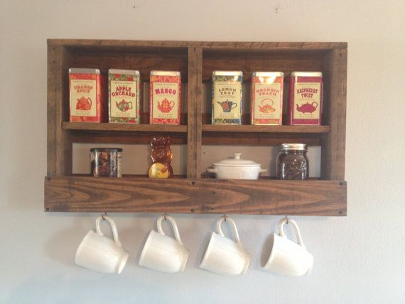 This sensational Rustic Reclaimed Pallet Coffee & Tea Rack is an impressive display of your favorite coffee, teas & mugs! dunnrusticdesigns.etsy.com